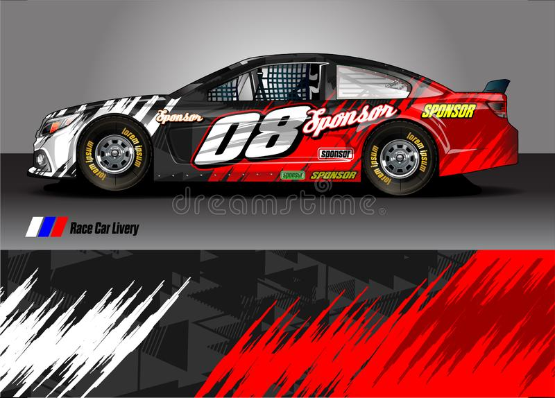 Race car livery graphic vector. abstract grunge background design for vehicle vinyl wrap and car branding. Vehicle livery graphic . abstract grunge background royalty free illustration