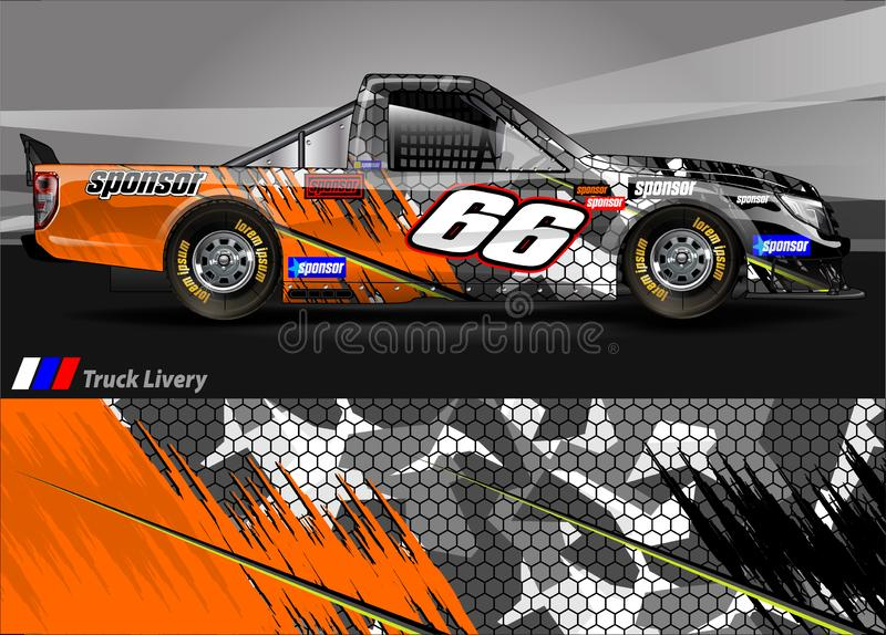 Race truck livery graphic vector. abstract grunge background design for vehicle vinyl wrap and car branding stock illustration