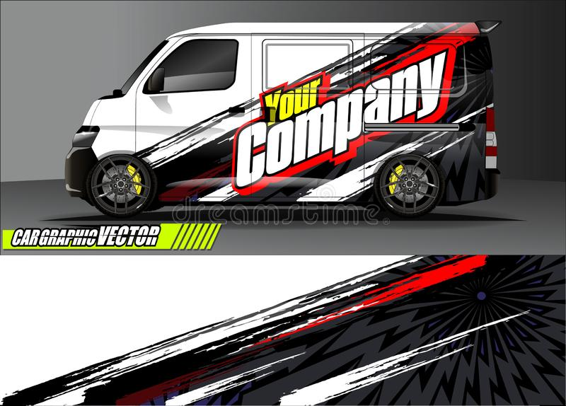 Van livery graphic vector. abstract grunge background design for vehicle vinyl wrap and car branding. Vehicle livery graphic vector. abstract grunge background royalty free illustration