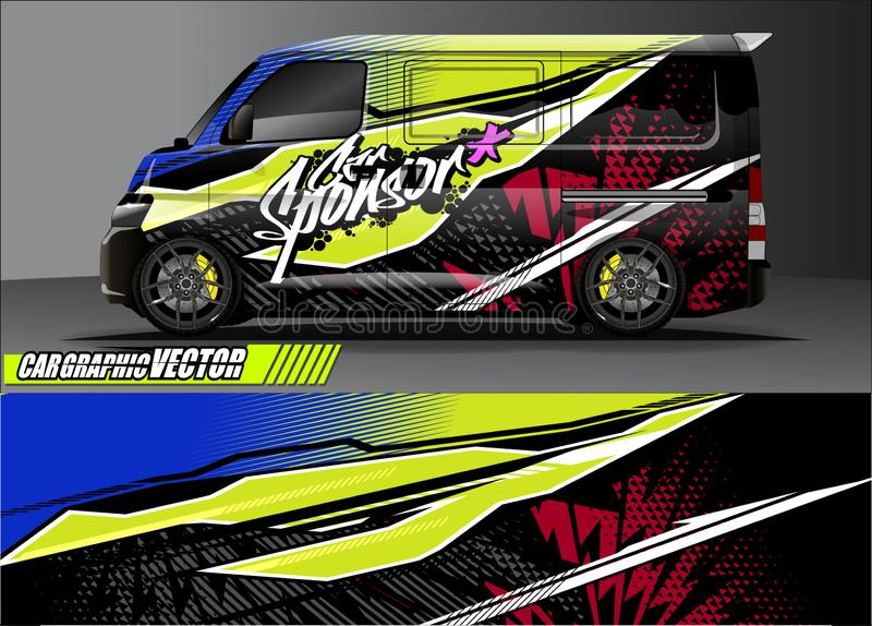 Van livery graphic vector. abstract grunge background design for vehicle vinyl wrap and car branding stock image