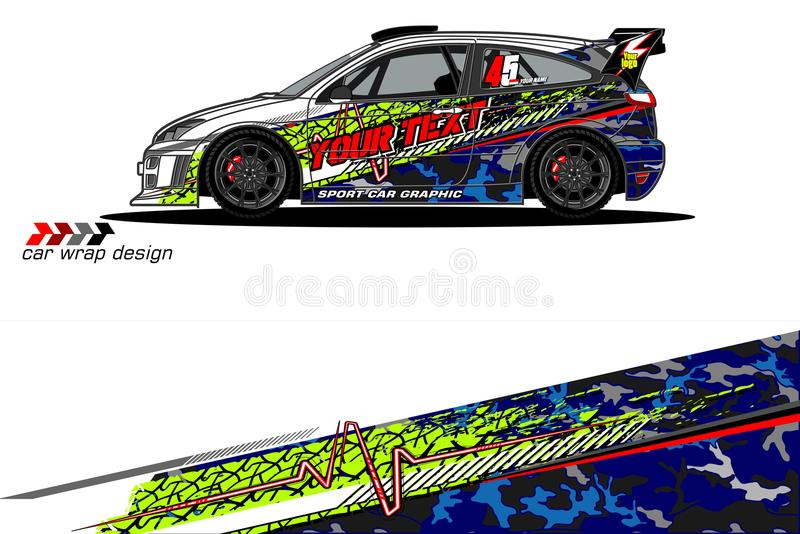 Vehicle livery graphic vector. abstract grunge background design for vehicle vinyl wrap and car branding. Vector royalty free illustration