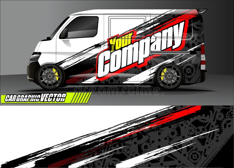 Van livery graphic vector. abstract grunge background design for vehicle vinyl wrap and car branding vector illustration