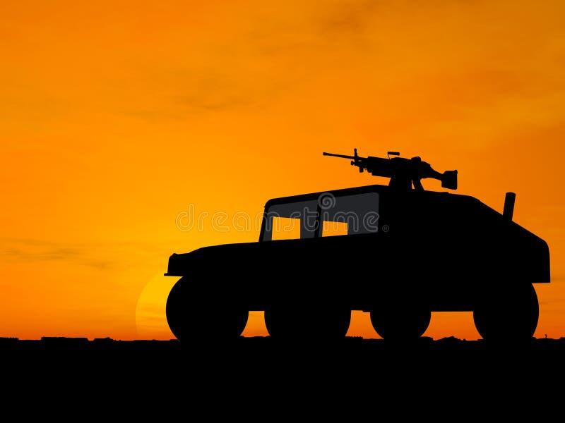 Vehicle over sunset vector illustration