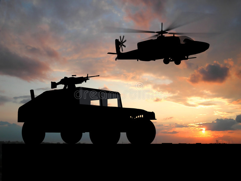 Vehicle over sunset stock images