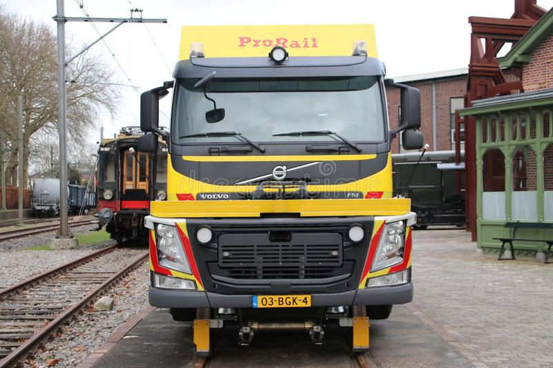 Vehicle of Prorail, to be used on a derailment of a train stock photos