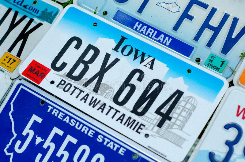 Vehicle registration plate of the united states of america stock photos