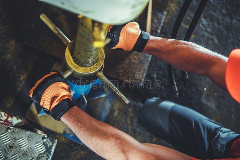 Vehicle Repair Lift Support stock photo