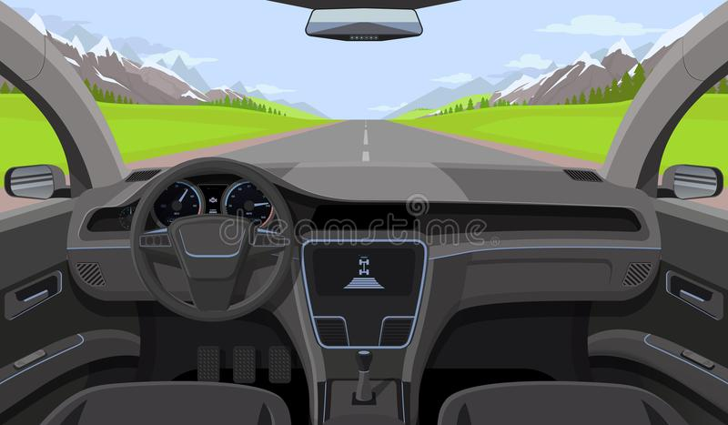 Vehicle salon, inside car driver view with rudder, dashboard and road, landscape in windshield. Driving simulator vector stock illustration