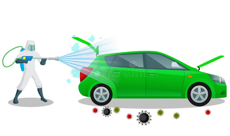 Vehicle sanitize and disinfectant services. Car sanitize for covid 19 disease with proper servicing. Vector illustration car. Disinfectant royalty free illustration