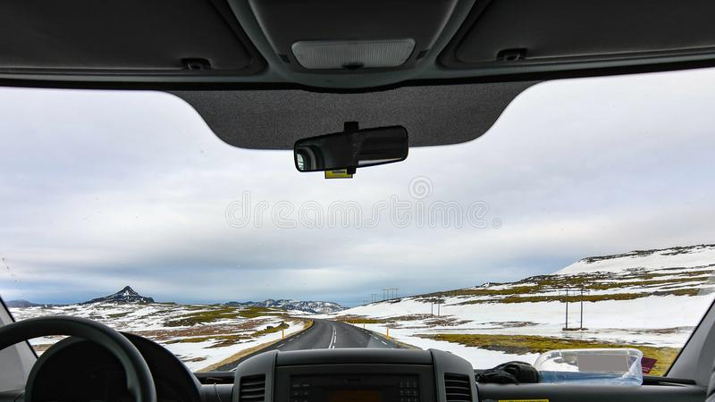 Vehicle in Between Snow Covered Field stock photos