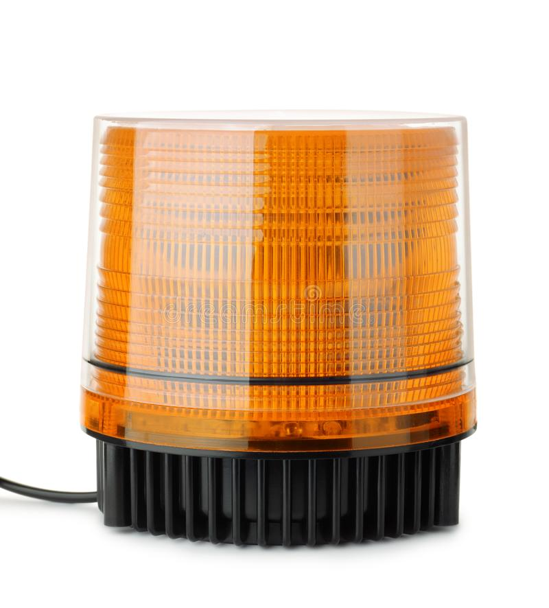 Vehicle strobe warning light. Front view of vehicle strobe warning light isolated on white royalty free stock images