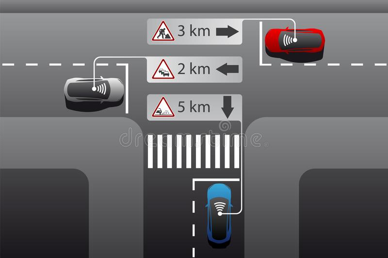 Vehicle to vehicle communication. vector illustration