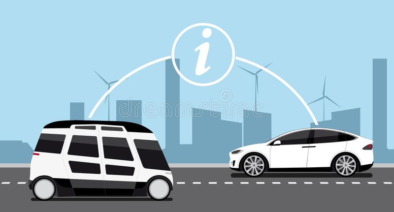 Vehicle to vehicle communication. royalty free illustration