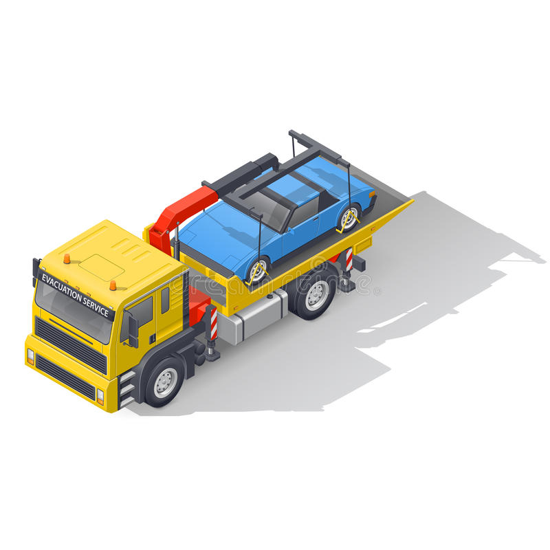 Vehicle tow truck transporting on board a broken car isometric icon set stock illustration