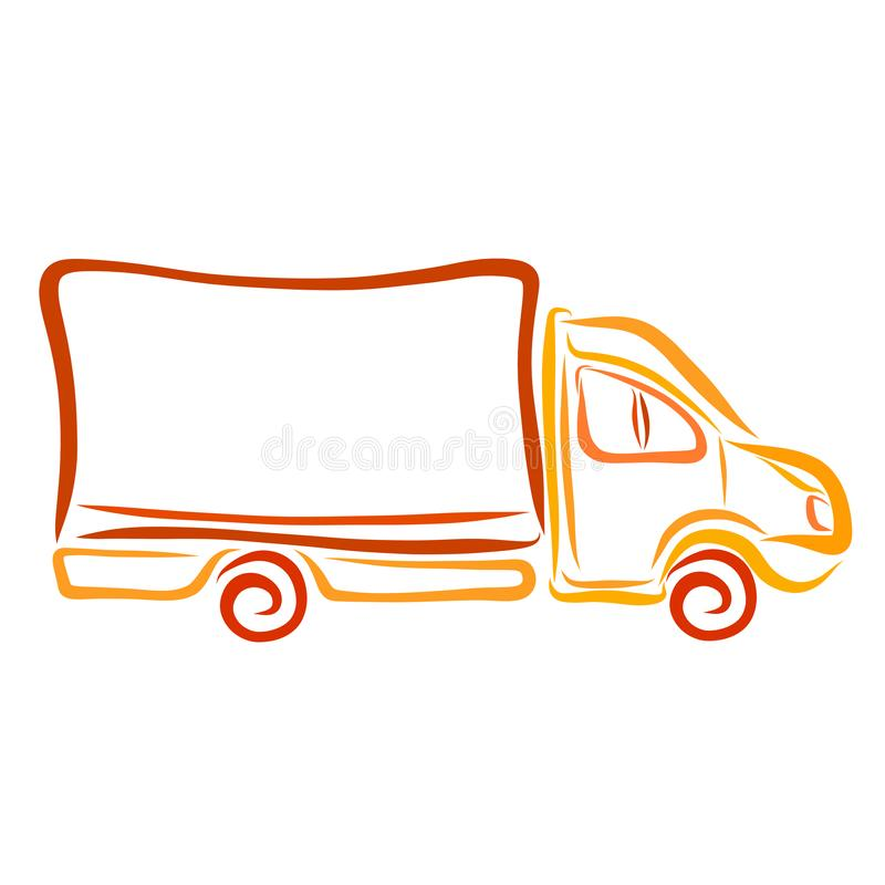 Vehicle for the transport of goods, color sketch.  royalty free illustration