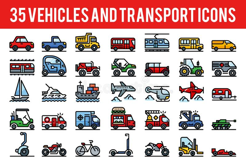 35 Vehicle and transport outline color icons. Sign and symbols. Pixel perfect icon base on 64px royalty free illustration