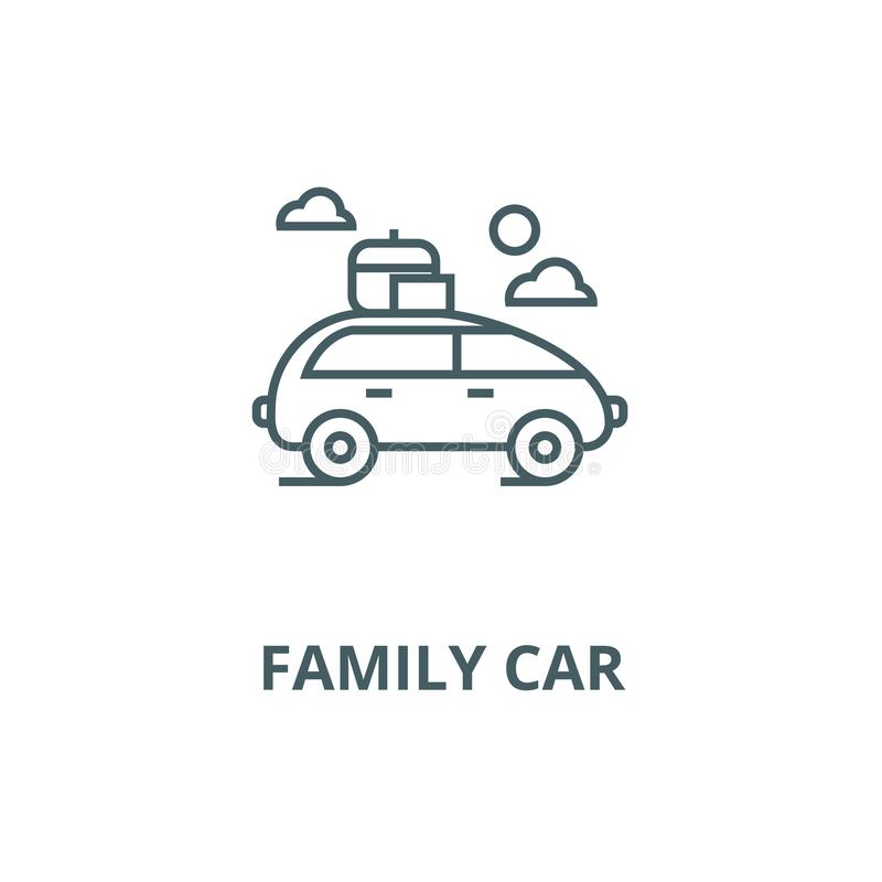 Vehicle travel, family car vector line icon, linear concept, outline sign, symbol. Vehicle travel, family car vector line icon, outline concept, linear sign vector illustration