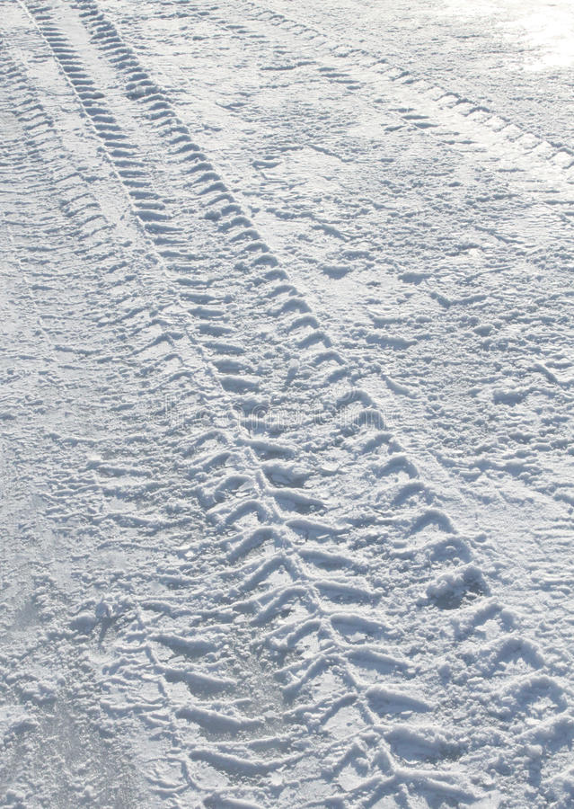 Download Vehicle Tyre Tracks On Snow Stock Image - Image: 18202569