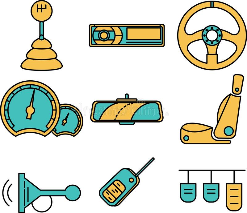 Vector illustration of car`s spare parts. Illustration of steering wheel, speedometer. Vector icons of spare parts. vector illustration