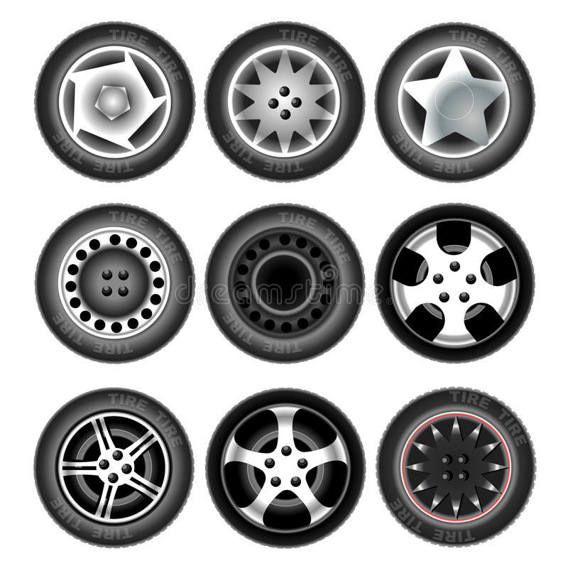 Vehicle wheels and tires. Collection of nine wheels with tires. Different forms and object variation. Car wheels. tires on white background. Digital vector stock illustration