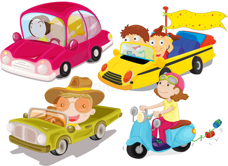 Vehicles. A cartoon illustration of differernt types of vehciles vector illustration