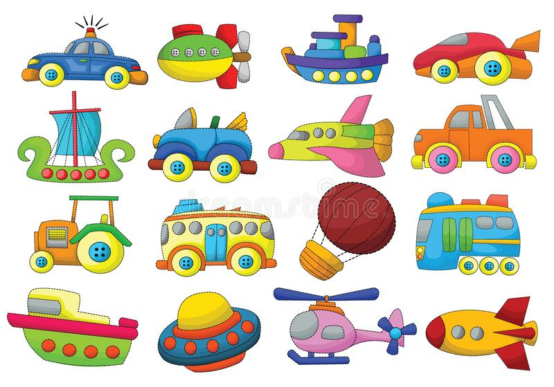Vehicles Cartoon Design Vector Set. Cars bus truck boat ship toy royalty free illustration