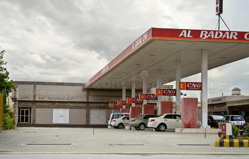 Vehicles at CNG Station stock image
