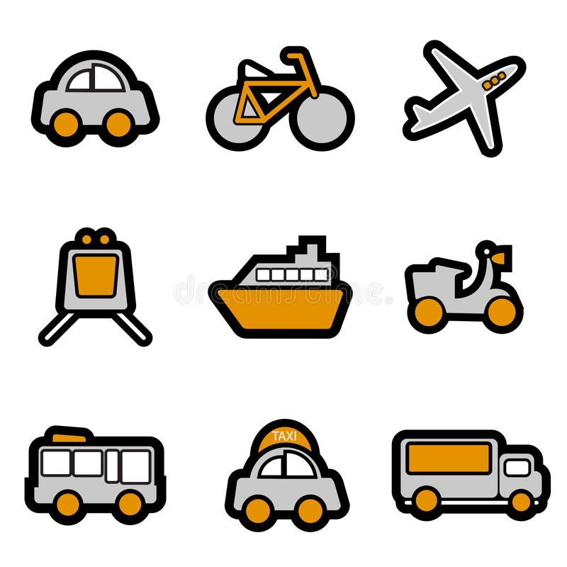 Vehicles Icon Set Vector Royalty Free Stock Photo
