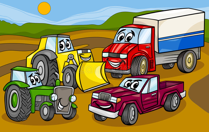 Vehicles machines group cartoon illustration. Cartoon Illustration of Funny Vehicles and Machines or Trucks Cars Comic Characters Group vector illustration