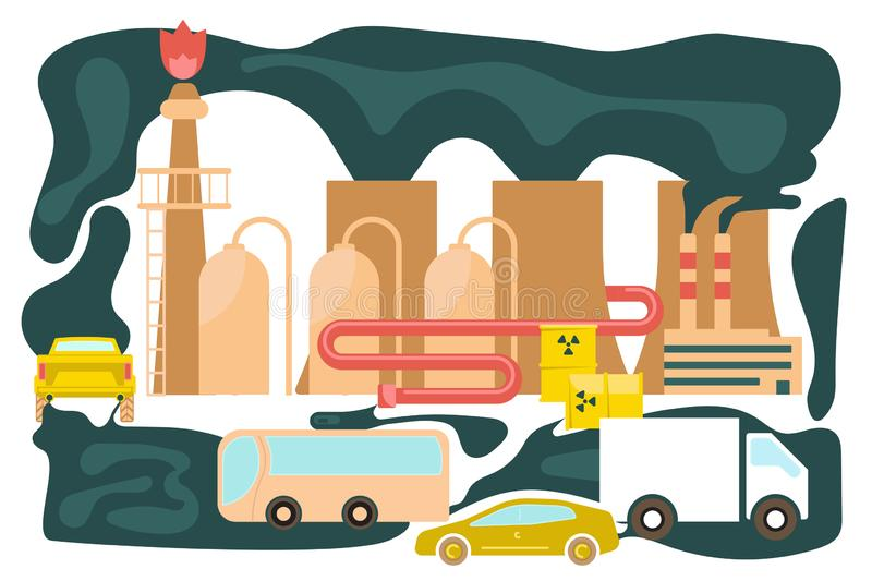 Vehicles on Road with Traffic Jam and Smoke. Polluted urban landscape in flat design. Vehicles on Road with Traffic Jam and Smoke from thermal power plants stock illustration