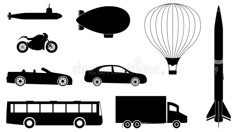 Vehicles Set. A set of vehicles such as cars, bus, truck, submarine and hot air balloon royalty free illustration