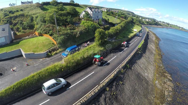 Vehicles on shore road Co Antrim Northern Ireland royalty free stock photos