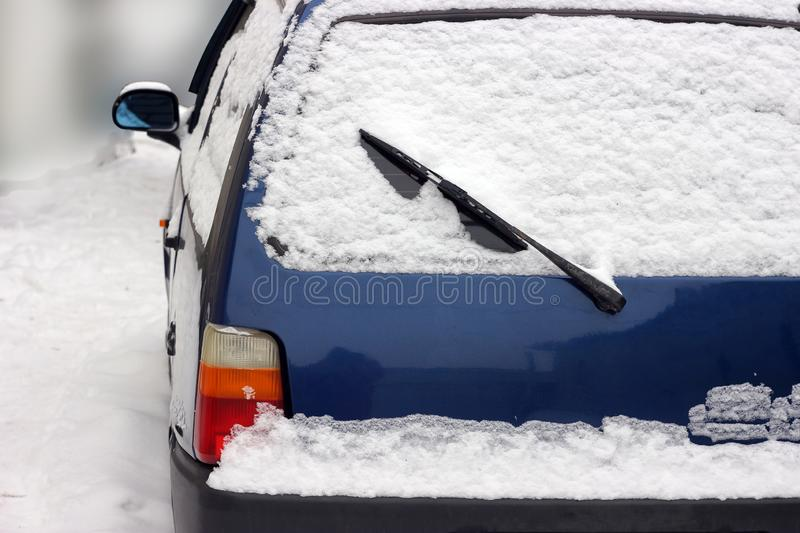 Vehicles in the snow. snow drifts on the roads. Motion cancellation, owing to inclement weather conditions. Vehicles in the snow stock photography