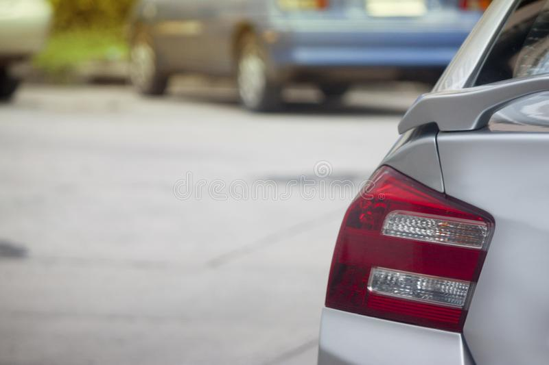 Vehicles stop in parking lot. Red vehicles stop on the beside road or Parking lot royalty free stock images
