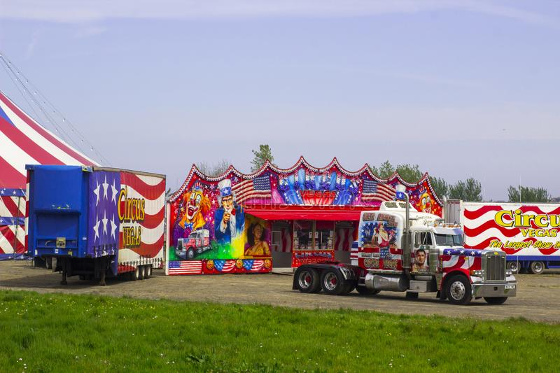 Vehicles and trailers of the Travelling American Circus in Ireland. 15 May 2019. The Red, White and Blue vehicles and trailers of the Travelling American Circus royalty free stock photography