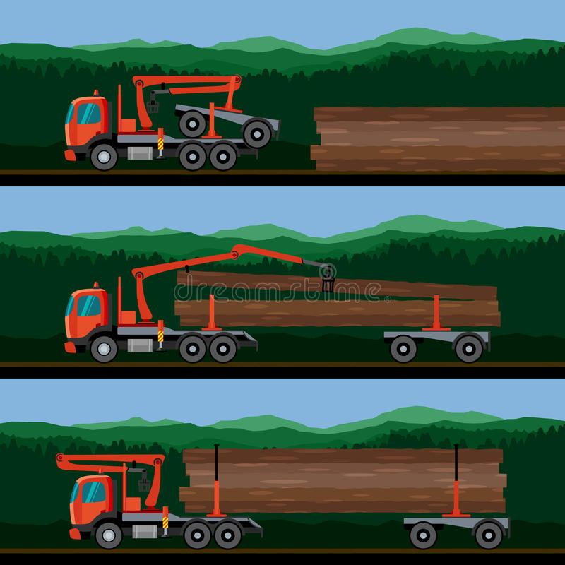 Hydraulic Loading Arms : Vehicles for the transport of timber stock vector