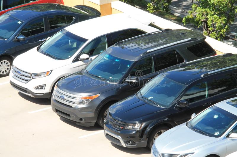 Vehicles viewed from above at Key Biscayne luxury resort royalty free stock image