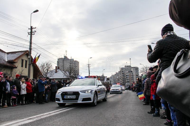 Vehicule militare di parata di festa nazionale rumena fotografia stock