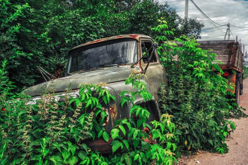 Veicoli dell'iarda di ciarpame che mostrano vecchio camion arrugginito nell'area piena di erbacce invasa fotografia stock