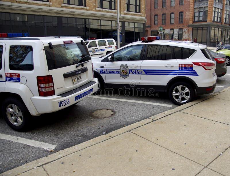 Veicoli di polizia di Baltimora, Maryland fotografia stock