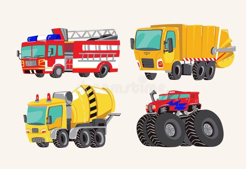 Veicoli disegnati a mano svegli divertenti del fumetto Camion dei vigili del fuoco del fumetto, autopompa antincendio luminosi, c royalty illustrazione gratis