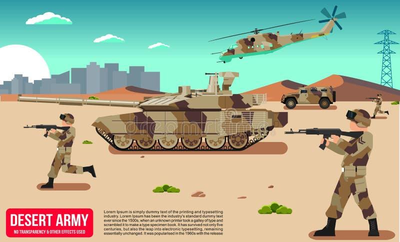 Veicoli militari dell'esercito con il carro armato & i soldati in deserto illustrazione di stock