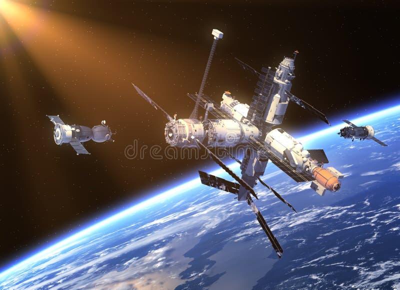 Veicoli spaziali e stazione spaziale illustrazione di stock