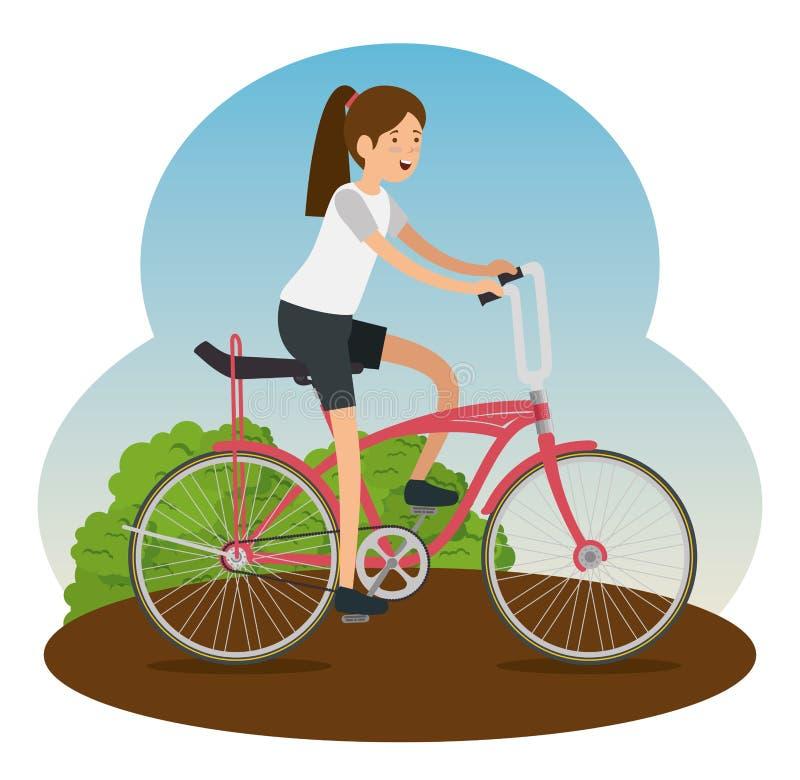 Veicolo della bicicletta di giro della donna per fare sport royalty illustrazione gratis