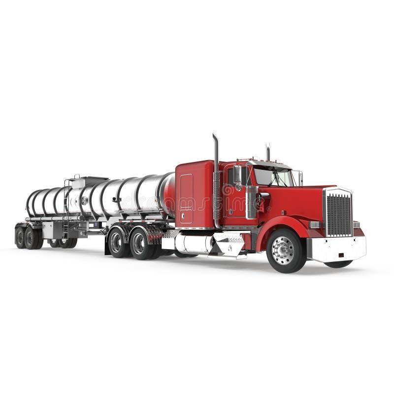 veicolo Grande camion del carico tank Autocisterna della benzina su bianco illustrazione 3D illustrazione di stock