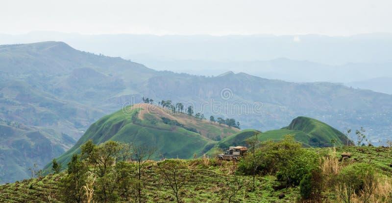 veicolo 4x4 nel rotolamento le colline fertili con i campi e dei raccolti su Ring Road del Camerun, Africa fotografia stock libera da diritti