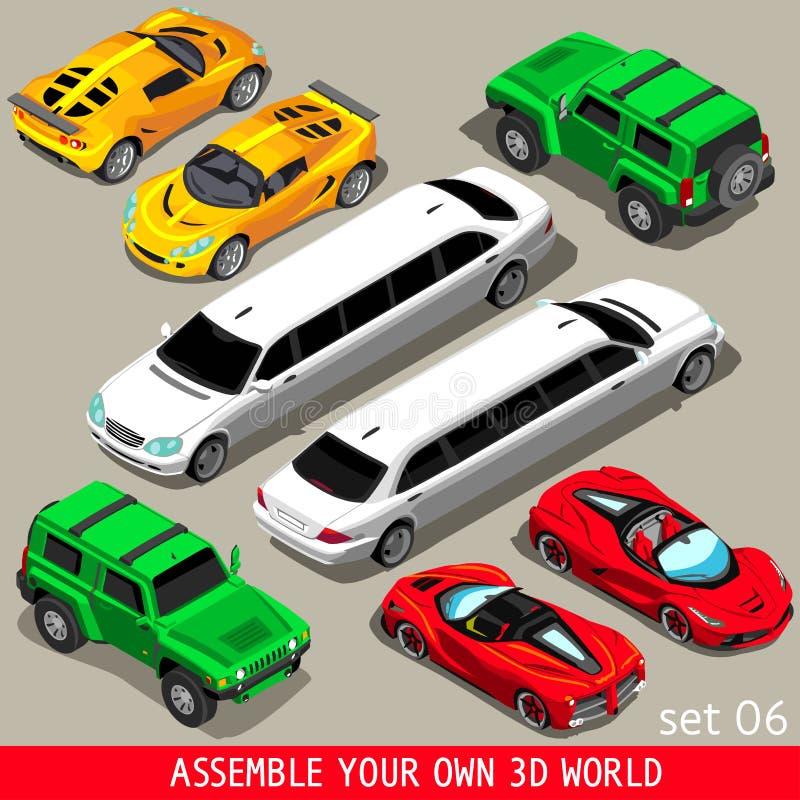Veicolo piano delle limousine isometrico illustrazione vettoriale