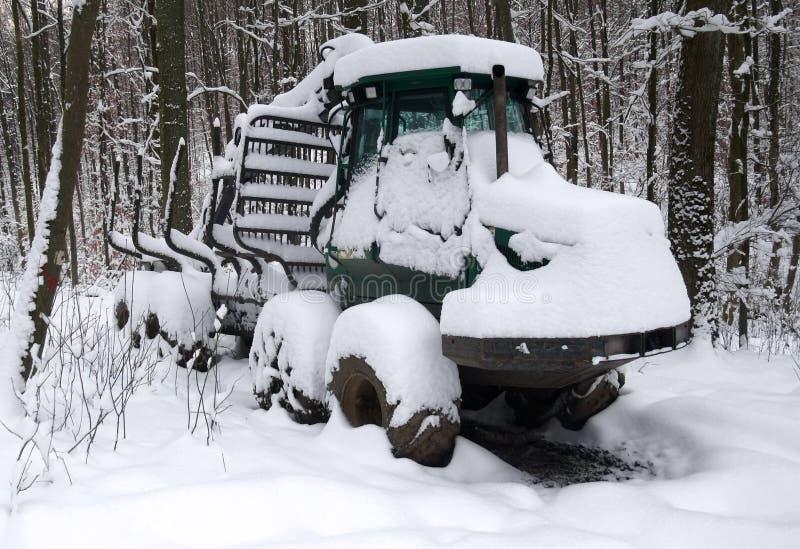 Veicolo Snowbound del legname fotografia stock