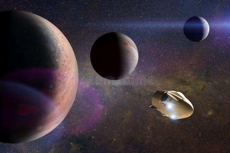 Veicolo spaziale del carico nello spazio aperto Elementi di questa immagine ammobiliati dalla NASA immagini stock libere da diritti