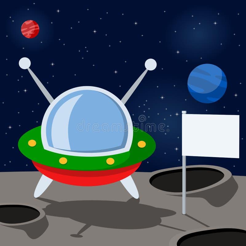 Veicolo spaziale del fumetto su un pianeta misterioso illustrazione di stock